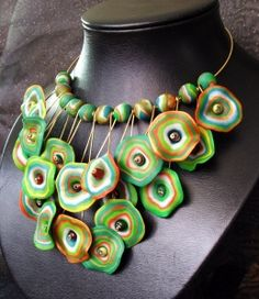 """Polymer Clay Necklace by Melody Tallon.  Featured in """"From Polymer to Art – Green"""""""