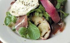 Grilled Fresh Peach Salad Peach Dish, Tuna, Grilling, Salad, Fish, Meat, Beef, Crickets, Salads