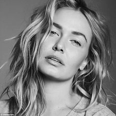 Black and white babe: Lara Bingle shared a bare-face snap of herself on Instagram on Frida...