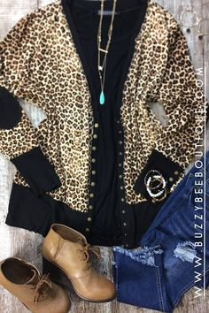 Turquoise and leopard pair beautifully together. pop a black tee on with your favorite denim, earrings and a necklace. Clothing Websites, Womens Clothing Stores, Plus Size Womens Clothing, Plus Size Fall Outfit, Plus Size Outfits, Denim Earrings, Cheap Cocktail Dresses, Dress Clothes For Women, Dress With Cardigan