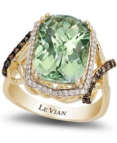 Le Vian Green Amethyst and Diamond Ring in 14k Gold