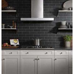 Black Kitchen Countertops, Black Backsplash, Kitchen Backsplash, Stainless Range Hood, Stainless Steel, Wall Mount Range Hood, Mount Hood, Best Appliances, Smart Home Technology