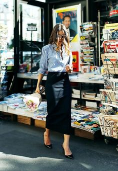 The pencil skirt is a French staple piece for a reason: The style gives you an hourglass figure every time.