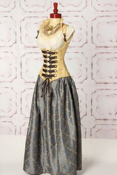 Buttery Gold Floral Stripe Steampunk Vixen with Smoky Blue with Diamond Swirls Full Length Costume Skirt by Damsel in this Dress Steampunk Mode, Steampunk Accessoires, Steampunk Wedding, Steampunk Costume, Victorian Steampunk, Steampunk Clothing, Steampunk Fashion, Steampunk Dress, Steampunk Rings