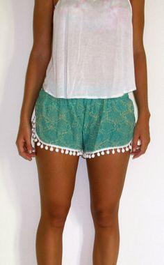 Pom Pom Shorts Emerald Green & Off White Snake by ljcdesignss