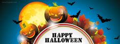Happy Halloween Night Pumpkins Bats and Leaves Facebook Cover CoverLayout.com