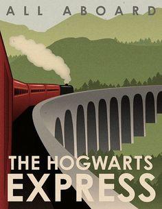 Art Deco Hogwarts Express Travel Poster Harry Potter -  Glenfinnan Viaduct near Lochaber in the highlands