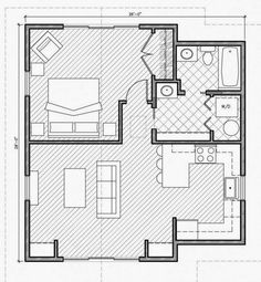 Approx. 728 sqr feet. Vault living and kitchen. 364 sqr feet loft over bed/bath/util for nursery/playroom, stairs on back wall of kitchen. Approx 1,092 sqr ft, total.