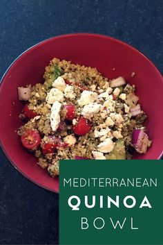 Mediterranean Quinoa Bowl-- Try this healthy recipe made with almond pesto, tomatoes, red onion, cucumber, and feta cheese. This quinoa recipe is easy to make and a great lunch food that you can store in the fridge for up to a week. Quinoa is gluten free, a complete protein, and has 9 amino acids.