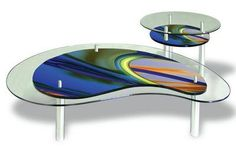 Kidney Shaped Colored Glass Cocktail Table with Side Table