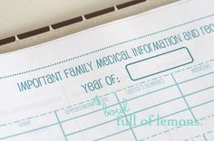 important family medical page for home management binder