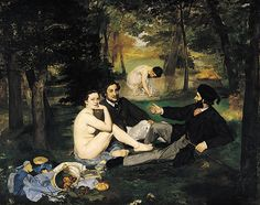 Edouard Manet's Le Dejeuner sur l'herbe painted in 1862-1863 was originally entitled Le Bain (The Bath). It caused outrage when it was first shown. This was in part due to the lady's state of undress as she is right next to two fully clothed gentlemen but also because she brazenly looks out at the spectator without averting her gaze.