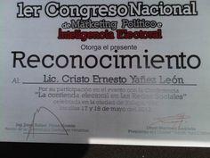 Reconocimiento como ponente en el 1er congreso nacional de marketing politico e inteligencia electoral