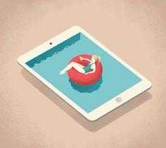 Illustration by Andrea De Santis #andreadesantis #relax #pool #ipad #floating #water #cocktail #gif #summer #fresh