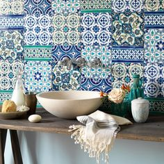 Moroccan inspired tile! Love the colors and patterns