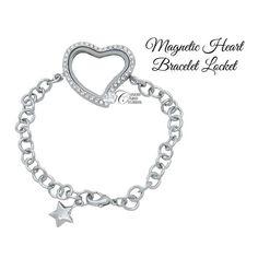 Locket Bracelet, Heart Bracelet, Bracelets, Floating Lockets, Floating Charms, Custom Items, Crystal Rhinestone, Heart Shapes, Magnets