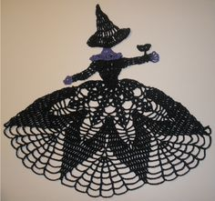 Crochet Crinoline Lady Doily - Halloween Black & Purple Masquerade