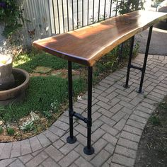 Bar Table with Live Edge Maple or Walnut Wood Bar Height Sofa Live Edge Bar, Industrial Pipe, Kitchenette, Table Plans, Walnut Wood, Cabana, Woodworking, Modern, Pub Tables