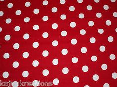 Bright Cola Picnic Mouse Red w White Large Polka Dot Circles New Cotton Fabric | eBay