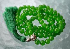 Handmade Beads Mala, Healing Jewelry Yoga Beads Necklace Japa Mala 108, Green Carnelian - Achieving Goals Memory Concentration Self Esteem