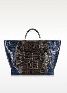 Roberto Cavalli Class Daria Large Croco Embossed Leather Tote Bag