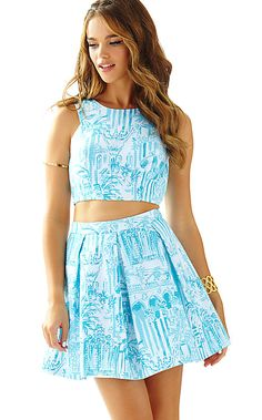20272 - Melody Crop Top & Pleated Skirt Set
