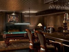 Traditional Man Cave with Crown molding & Billiard room | Zillow Digs