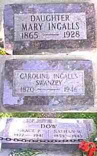 Graves of Mary Ingalls, Caroline (Carrie) Ingalls Swanzey, and Grace Ingalls Dow - De Smet, SD