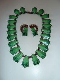 Renoir Matisse Electric Green Enamel Copper Choker Earring Set