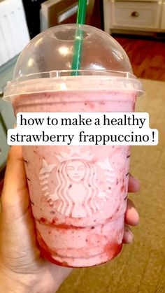 Fruit Smoothie Recipes, Smoothie Drinks, Healthy Dessert Recipes, Healthy Smoothies, Healthy Drinks, Dessert Bullet Recipes, Pink Drink Recipes, Starbucks Recipes, Starbucks Drinks