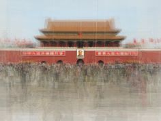 Photograph: Tiananmen Square, Beijing, China.  Switzerland-based Corinne Vionnet combines tourist photos into one, after conducting an online keyword search and sifting through photo sharing sites.  This Swiss/French artist carefully layers 200 to 300 photos on top of one another until she gets her desired result.  Through this process you'll see dim shadows, vague silhouettes wandering aimlessly inciting our haunting fading memories and the reminder of the inevitable passage of time.