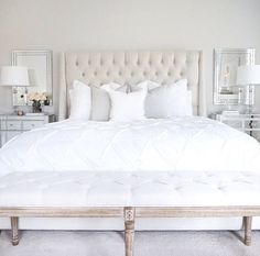 Tufted linen bed, classic gray Benjamin Moore walls, mirrored nightstand, white table lamp, tufted l Home Bedroom, Bedroom Inspo, Bedroom Ideas, Bedroom Styles, Bedroom Lamps, Bedroom Benches, Master Bed Room Ideas, Crystal Bedroom Decor, Glam Bedroom