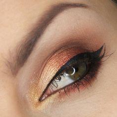 'Sunny Autumn' look by Justyna Kolodziej using Makeup Geek's Brown Sugar, Mango Tango, and Mocha eyeshadows!