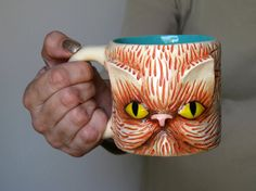 OOAK CAT MUG Large Ceramic  Entirely by MateriaPrimaProject, $43.00