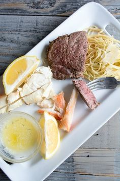 Filet and Crab with Rosemary Garlic Butter and Pasta
