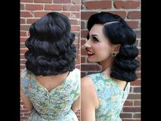 How to do old Hollywood waves - Beginners - Step by step - Glam Finger waves - Vintage Waves Bob Updo Hairstyles, Curled Hairstyles For Medium Hair, Updo Hairstyles Tutorials, Vintage Hairstyles Tutorial, Retro Hairstyles, Vintage Waves Tutorial, Vintage Wedding Hairstyles, School Hairstyles, Vintage Waves Hair