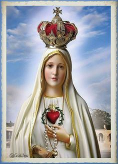 Our Lady of Fatima, pray for us! Blessed Mother Mary, Blessed Virgin Mary, Religious Pictures, Religious Art, Jesus Jose Y Maria, Images Of Mary, Lady Of Fatima, Queen Of Heaven, Mama Mary