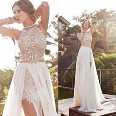 dresse on sale at reasonable prices, buy 2016 A Line Front Slit Chiffon Elegant Two Pieces Beach Wedding Dress 2016 Detached Train Bridal Gown vestido de noiva from mobile site on Aliexpress Now! Prom Dresses 2015, Backless Prom Dresses, Bridal Dresses, Backless Wedding, Prom Gowns, Dress Wedding, Dress Prom, Lace Wedding, Beach Dresses
