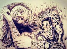 Prison Drawings, Sick Drawings, Sugar Skull Tattoos, Sugar Skull Art, Sugar Skulls, Chicano Love, Chicano Art, Chicanas Tattoo, Body Art Tattoos