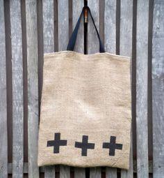 Burlap tote hessian sackcloth screen printed by handmadeinhighbury