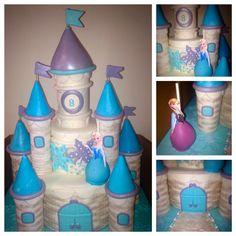 Princess castle cake w/ Elsa & Anna cake pops