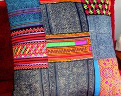 indigo cushion covers | ... Pillow Vintage Hmong Embroidery Indigo Batik Patchwork Cushion Cover