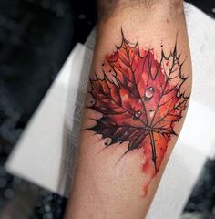 3d Realistic Water Droplet On Orange Leaf Tattoo For Men