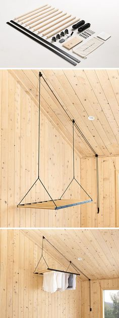 New Zealand based design firm George and Willy have created a modern hanging clothes drying rack that drops from the ceiling on a pulley system to dry and air your clothes. #furnituredesign