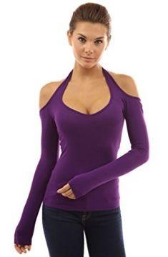 183e479747a538 PattyBoutik Women s Halter Cut Out Shoulder Long Sleeve Top (Bright Purple  XL)  Halter Cut Out Cold Shoulder Long Sleeve Party Top.