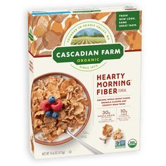 Cascadian Farm Organic Cereal - Hearty Morning - Case Of 10 - Oz Healthy Cereal Brands, Fiber Cereal, Organic Cereal, Granola Clusters, Whole Grain Wheat, Whole Grain Cereals, Granola Cereal, Breakfast Options, Natural Flavors