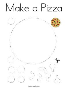 Make a Pizza Coloring Page - Twisty Noodle Pizza Coloring Page, Food Coloring Pages, Coloring For Kids, Cut And Paste Worksheets, School Worksheets, Worksheets For Kids, Cutting Activities, Activities For Kids, Physical Activities