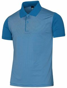Bcpolo Men's Stretch Striped Short Sleeve Polo Shirt Aqua-L