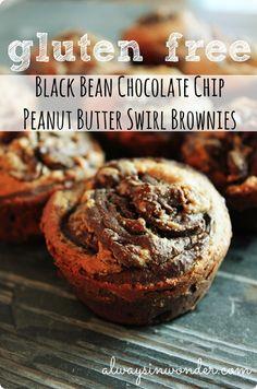 Gluten free black bean chocolate chip peanut butter swirl brownies. Made with black bean flour.