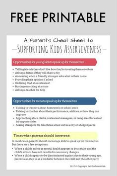 Download this free cheat sheet for a list of opportunities for when kids and teens can practice speaking up for themselves. Support kids' assertiveness and raise kids who can stand up for themselves.